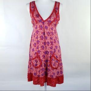 Free People V-Neck Empire Waist Dress Ruffle $78